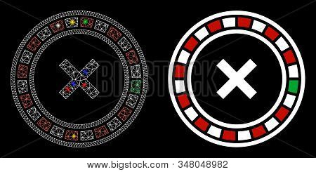 Bright Mesh Roulette Icon With Lightspot Effect. Abstract Illuminated Model Of Roulette. Shiny Wire