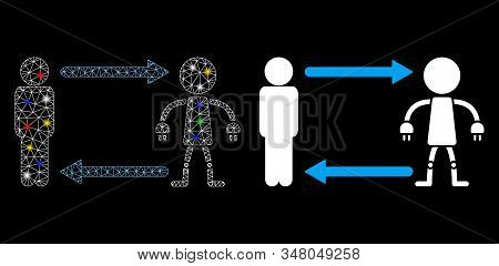Glossy Mesh Man Exchange Robot Icon With Glare Effect. Abstract Illuminated Model Of Man Exchange Ro