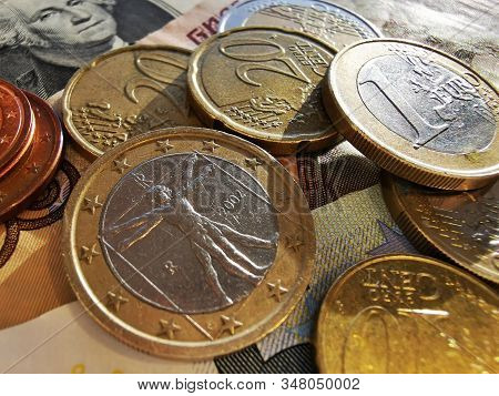 Euro Coins And Euro Cents. Paper Notes Of Euro, Dollar And Russian Rubles. Exchange Rate. Buy Curren