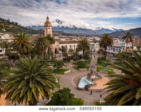 Simon Bolivar Square, Otavalo - Ecuador. June,15th2018. Behind There Is The Cotacachi Volcano. Many