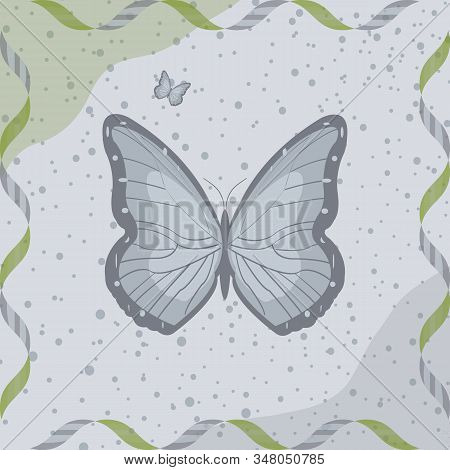 Abstract Scarf Or Napkin Print. Cute Background With Butterflies For Scarf Print, Fabric, Covers, Sc