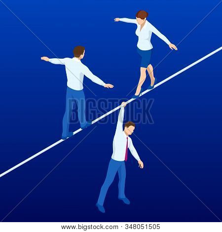 Isometric Businessmen And Woman Tightrope Walker Is On The Rope. Risk Challenge In Business, Busines