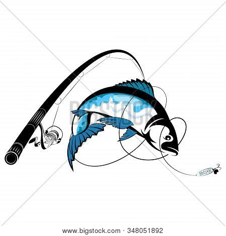 Fishing Rod With Reel And Fish Catch