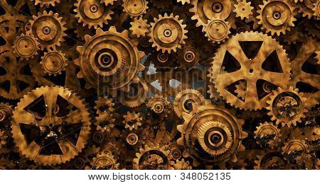 Industrial And Mechanical Background. Engine And Technology Concept.3d Illustration.old Watch Gear M