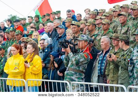 Tyumen, Russia - August 10, 2019: International Army Games. Engineering Formula Contest. Spectators