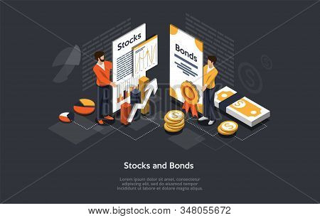 Isometric Stock And Bonds Concept. Business People Man And Woman Forming An Securities Investment Po