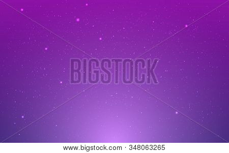 Space Background. Violet Cosmos With Stardust. Purple Infinite Universe And Shining Stars. Realistic