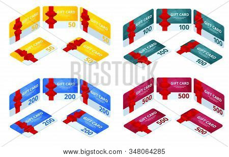 Isometric Set Of Gift Voucher Card Template, Monetary Value Coupon Icons