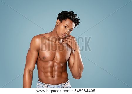 Fit African Man With Naked Torso.