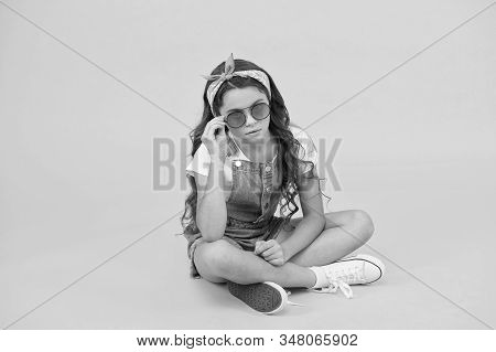 Accessory To Protect Your Eyesight. Adorable Small Child Wear Eyeglasses Accessory. Cute Little Girl