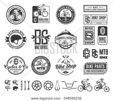 Bike Shop, Club, Service, Mountain And Road Biking Badges And Design Elements