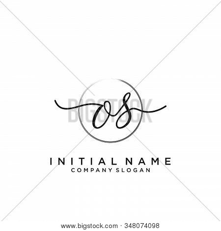 Os Initial Handwriting Logo With Circle Template Vector.
