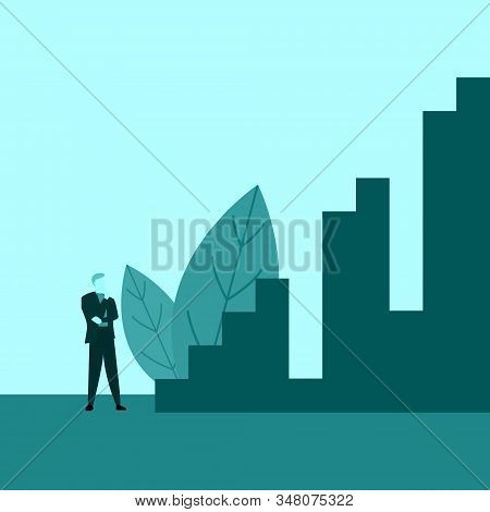 Businessman Or Employee Thinking Staring Stairs Of Success With Holes Obstacle Illustration