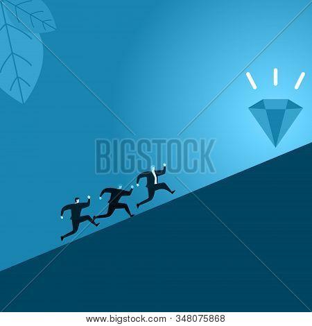 People Businessman Employee Run Racing Uphill To Reach Success Illustration
