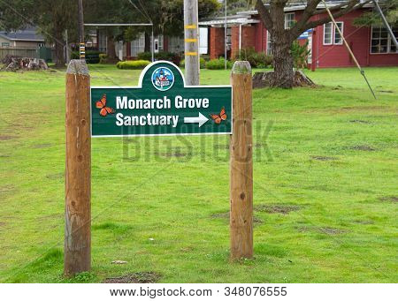 Pacific Grove, Ca - Jan 1, 2020: Sign Directing To Monarch Grove Sanctuary In Pacific Grove, Montere