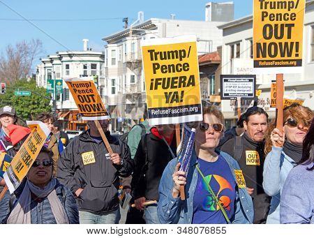 San Francisco, Ca - Jan 11, 2020: Unidentified People Protesting The Trump Pence Presidency, Demandi