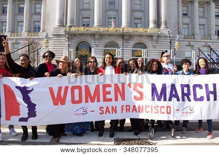 San Francisco, Ca - Jan 18, 2020: Mayor London Breed Speaking At The The Womens March Rally. Designe