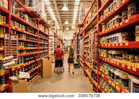 Sydney, Australia - 2020-01-03 Customers At Paint Aisle In Bunnings Warehouse. Bunnings Is A Largest