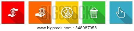 Set of colorful web flat design icons,  earth protect, trash can and hand buttons for webdesign and mobile applications