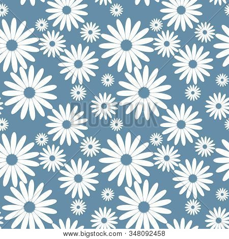 Cute Seamless Pattern Of White Daisies On Blue Background. Tiny Daisy Flowers In Flat Design. Vector