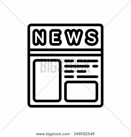 Black Line Icon For Newspaper-ads Newspaper Paper Journal Magazine News Document Classified Opportun