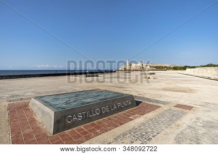 November 27, 2019, Havana, Cuba. Malecon Embankment On The Background Of The Fortress El Morro