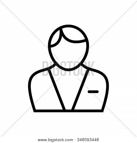 Black Line Icon For Male Adult Businessman Man Men People Human Person Masculine