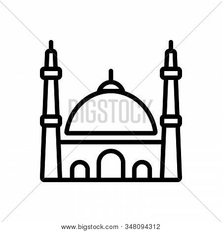 Black Line Icon For Mosque Istanbul Muslim Religion Traditional Holy Pray Building