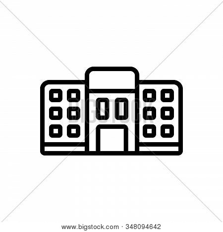 Black Line Icon For Hostel Dormitory Dorm Bedroom Dormer Tourism Residential Room