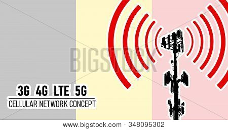 Cellular Mobile Network Tower - Connection Concept For Belgium, Vector Illustration Of 3g 4g Lte 5g