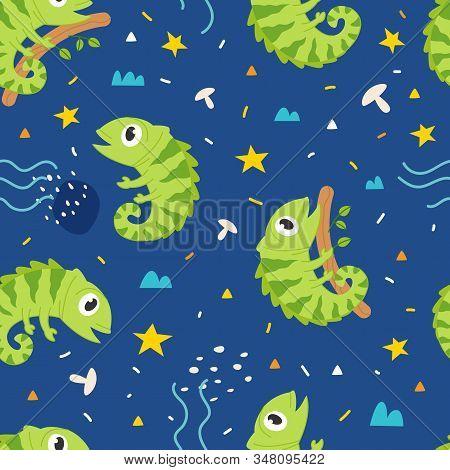 Vector Seamless Pattern Cute Iguana, Adorable Little Iguana Seamless Pattern. Vector Cute Animal Bac