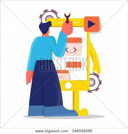 Abstract Flat Design Male Developer Create Mobile Application Vector Illustration Big Limbs Style