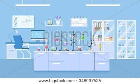 Chemical Laboratory Science And Technology Coronavirus 2019-ncov. Scientists Workplace Concept. Scie