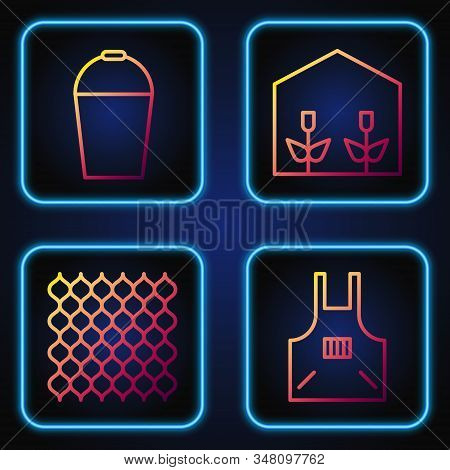 Set Line Kitchen Apron, Garden Fence Wooden, Bucket And Home Greenhouse And Plants. Gradient Color I