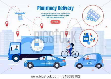 Pharmacy Transportation And Delivery Trendy Flat Vector Web Banner, Landing Page. Deliveryman On Bik