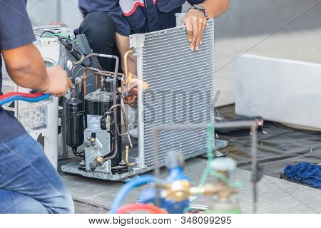 Close Up Of Air Conditioning Repair Team Use Fuel Gases And Oxygen To Weld Or Cut Metals, Oxy-fuel W