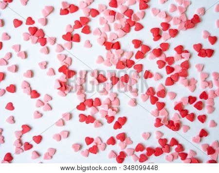 Colored Sugar Hearts Sprinkles Background, Sugar Sprinkle Hearts, Decoration For Cake And Bakery, A