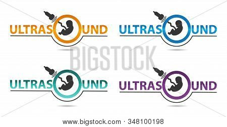 Ultrasound Diagnostics Logo In Four Colors. Medical Research, Gynecology Clinic, Polyclinics, Obstet