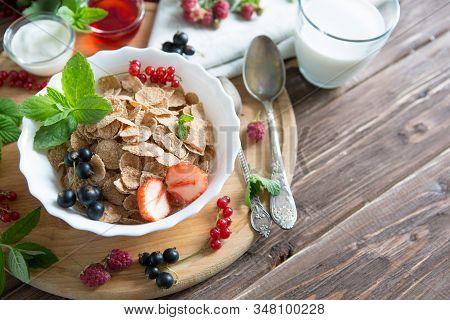 Ingredients Tasty Healthy Breakfast For Cooking With Milk. Healthy Tasty Breakfast Multigrain Wholew