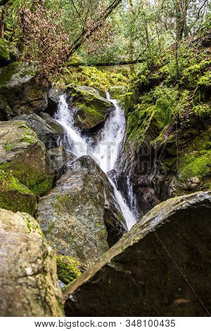 Waterfall And Mossy Rocks In Sugarloaf State Park, Sonoma Valley, California