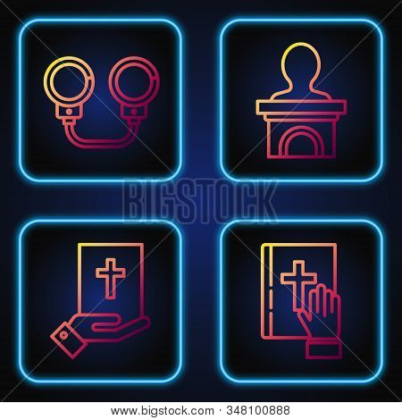Set Line Oath On The Holy Bible, Oath On The Holy Bible, Handcuffs And Stage Stand Or Debate Podium