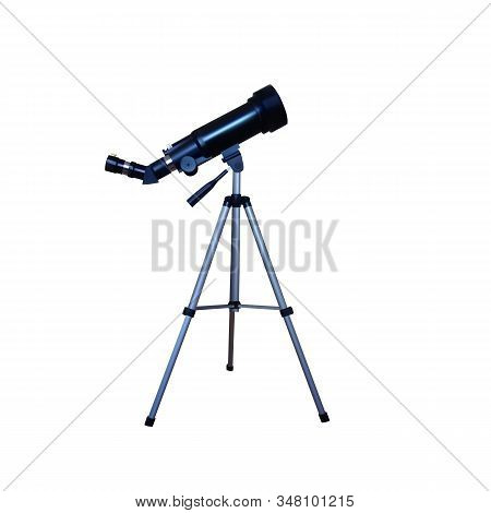 Realistic Telescope On A Tripod. Vector Illustration. Sky And Stars Discover.