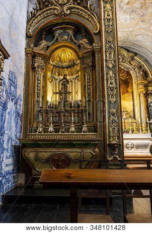 Lisbon - August 28, 2019: Baroque Gilded Side Altar In Convento De Sao Pedro De Alcantara, Bairro Al