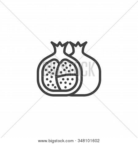 Healthy Fruit Pomegranate Line Icon. Linear Style Sign For Mobile Concept And Web Design. Pomegranat