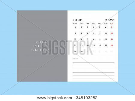Calendar 2020 Template In Custom Size. All Day Is Holiday
