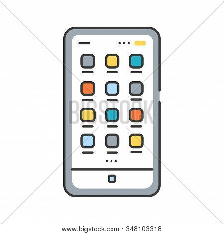 Mobile Ui Design Color Line Icon. Process Of Making Interfaces In Software Or Computerized Devices.