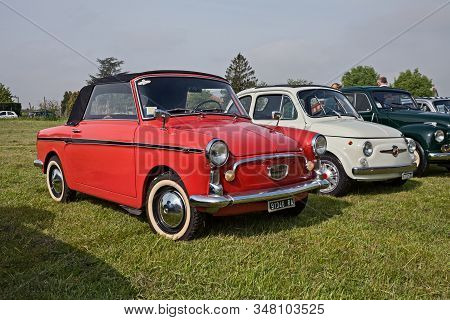 Vintage Italian Car Autobianchi Bianchina Cabrio (based On Fiat 500) In Classic Car Rally Xv Auto Mo