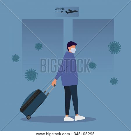 MERS-Cov Middle East Respiratory Syndrome Coronavirus , the New Coronavirus 2019-nCoV , a young man with a blue medical mask and a travel bag on wheels is moving in the direction of take-off. MERS-Cov middle East respiratory syndrome coronavirus , Novel c