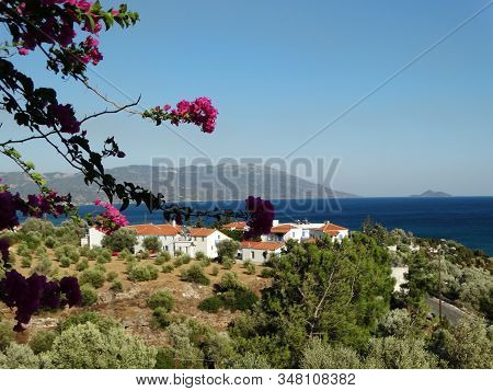 Enjoy The View Of The Beautiful Island Samos, One Of The Small Islands Of Greece