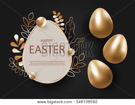 Golden Easter Egg With Decorative Elements Illustration. Happy Easter Background, Easter Design. Cop